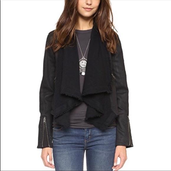 Free People Jackets & Blazers - Free People size 2 black shawl denim coated jacket